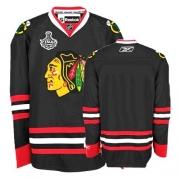 Reebok Chicago Blackhawks Premier Blank Black Man NHL Jersey with Stanley Cup Finals