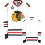 Reebok Chicago Blackhawks Premier Blank White Man NHL Jersey with Stanley Cup Finals