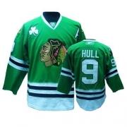 Reebok Chicago Blackhawks 9 Bobby Hull Authentic Green Man NHL Jersey