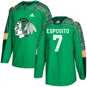 Adidas Chicago Blackhawks 7 Phil Esposito Authentic Green St. Patrick's Day Practice Youth NHL Jersey