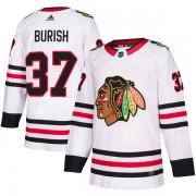 Adidas Chicago Blackhawks 37 Adam Burish Authentic White Away Youth NHL Jersey
