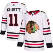 Adidas Chicago Blackhawks 11 Adam Gaudette Authentic White Away Youth NHL Jersey