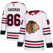 Adidas Chicago Blackhawks 86 Mike Hardman Authentic White Away Youth NHL Jersey