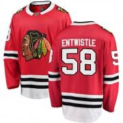 Fanatics Branded Chicago Blackhawks 58 Mackenzie Entwistle Red ized Breakaway Home Youth NHL Jersey