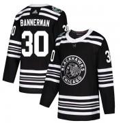 Adidas Chicago Blackhawks 30 Murray Bannerman Authentic Black 2019 Winter Classic Men's NHL Jersey