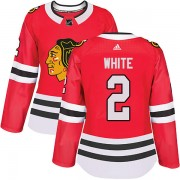 Adidas Chicago Blackhawks 2 Bill White Authentic White Red Home Women's NHL Jersey