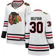 Fanatics Branded Chicago Blackhawks 30 ED Belfour White Breakaway Away Women's NHL Jersey