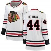 Fanatics Branded Chicago Blackhawks 44 Calvin de Haan White Breakaway Away Women's NHL Jersey