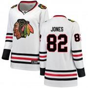 Fanatics Branded Chicago Blackhawks 82 Caleb Jones White Breakaway Away Women's NHL Jersey