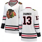 Fanatics Branded Chicago Blackhawks 13 Alex Zhamnov White Breakaway Away Women's NHL Jersey