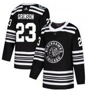 Adidas Chicago Blackhawks 23 Stu Grimson Authentic Black 2019 Winter Classic Youth NHL Jersey