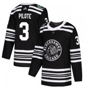 Adidas Chicago Blackhawks 3 Pierre Pilote Authentic Black 2019 Winter Classic Youth NHL Jersey