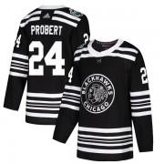 Adidas Chicago Blackhawks 24 Bob Probert Authentic Black 2019 Winter Classic Youth NHL Jersey