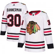 Adidas Chicago Blackhawks 30 Murray Bannerman Authentic White Away Men's NHL Jersey