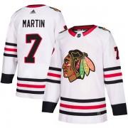 Adidas Chicago Blackhawks 7 Pit Martin Authentic White Away Men's NHL Jersey