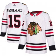 Adidas Chicago Blackhawks 15 Eric Nesterenko Authentic White Away Men's NHL Jersey