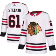 Adidas Chicago Blackhawks 61 Riley Stillman Authentic White Away Men's NHL Jersey