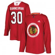 Adidas Chicago Blackhawks 30 Murray Bannerman Authentic Red Home Practice Men's NHL Jersey