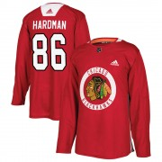 Adidas Chicago Blackhawks 86 Mike Hardman Authentic Red Home Practice Men's NHL Jersey
