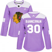 Adidas Chicago Blackhawks 30 Murray Bannerman Authentic Purple Fights Cancer Practice Women's NHL Jersey