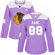 Adidas Chicago Blackhawks 88 Patrick Kane Authentic Purple Fights Cancer Practice Women's NHL Jersey