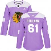 Adidas Chicago Blackhawks 61 Riley Stillman Authentic Purple Fights Cancer Practice Women's NHL Jersey