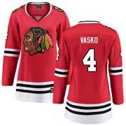 Fanatics Branded Chicago Blackhawks 4 Elmer Vasko Red Breakaway Home Women's NHL Jersey