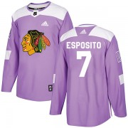 Adidas Chicago Blackhawks 7 Phil Esposito Authentic Purple Fights Cancer Practice Men's NHL Jersey