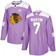 Adidas Chicago Blackhawks 7 Pit Martin Authentic Purple Fights Cancer Practice Men's NHL Jersey