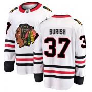 Fanatics Branded Chicago Blackhawks 37 Adam Burish White Breakaway Away Youth NHL Jersey