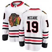 Fanatics Branded Chicago Blackhawks 19 Jake McCabe White Breakaway Away Youth NHL Jersey