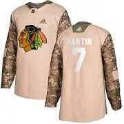 Adidas Chicago Blackhawks 7 Pit Martin Authentic Camo Veterans Day Practice Men's NHL Jersey